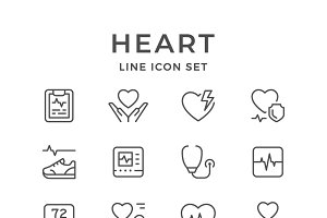 Set line icons of heart