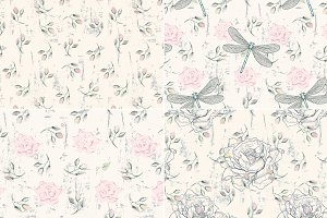 Roses&Dragonflies Seamless Patterns