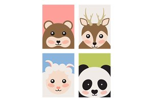 Bear and Deer Sheep and Panda Vector Illustration