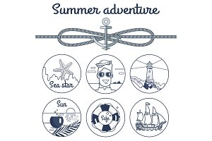 Summer Adventure Monochrome Poster with Anchor