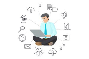 Sitting Man in Eyeglasses with Laptop Color Banner