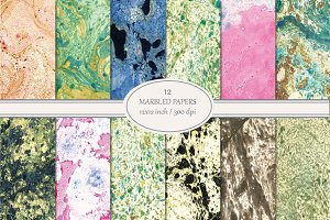 12 Marbled Paper Backgrounds