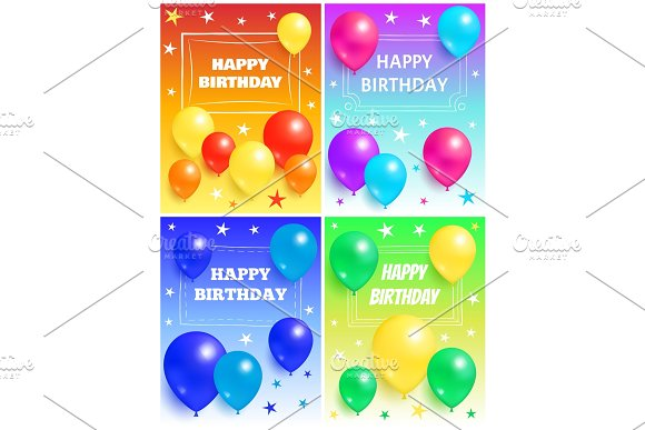 Happy Birthday Background Glossy Balloons And Star