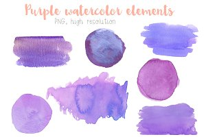 Purple watercolor elements clip art