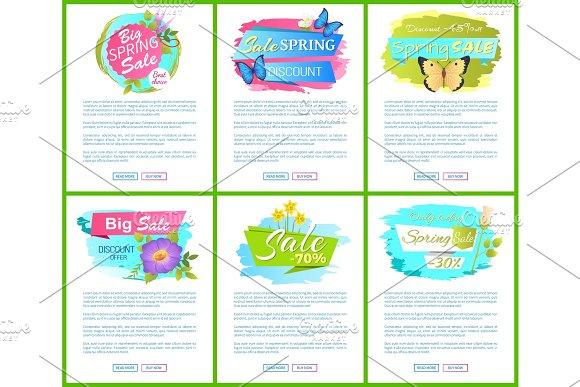 Spring Sale Posters Set Discount Color Butterflies