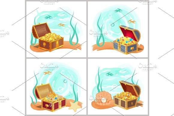 Mermaids Treasures In Chest At Bottom Of Sea Set