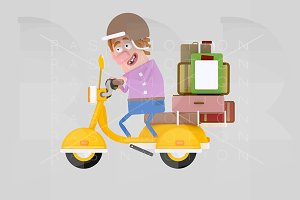 Man driving motorcycle with luggage