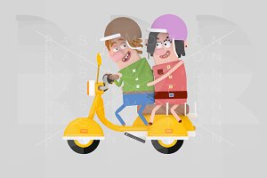 Couple in love driving motorcycle