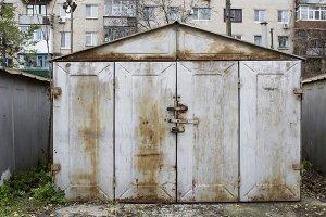 Old abandoned garages gray metallic