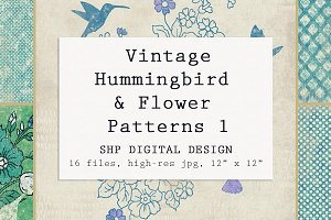 Hummingbird & Floral Farmhouse Set