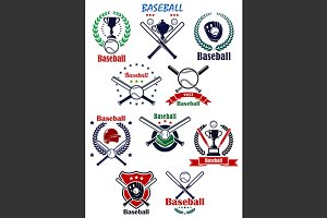 Baseball heraldic emblems or badges