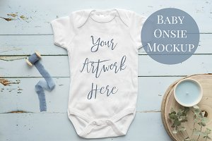 White Baby Suit Onsie - Blue