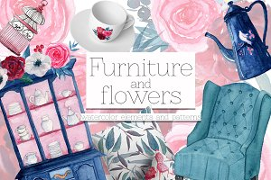 Furniture&Flowers watercolor set