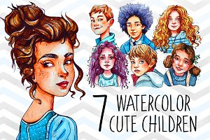 Watercolor children set