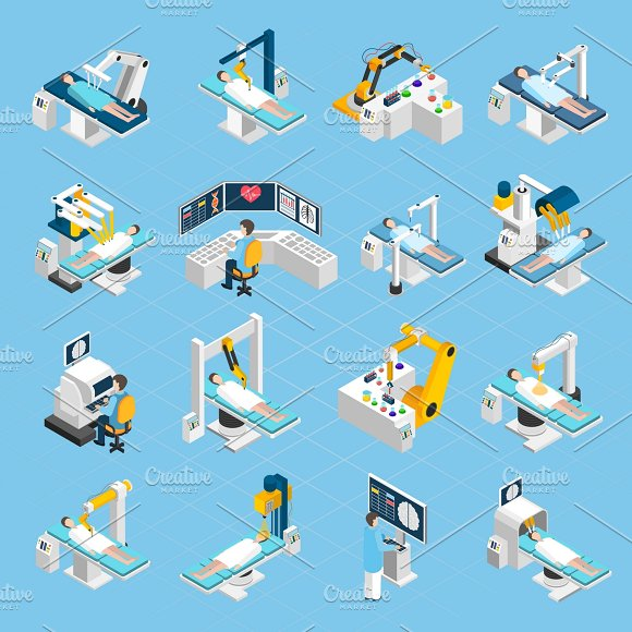 Robotic Surgery Isometric Icons Set