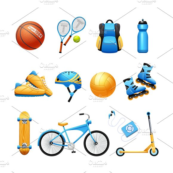 Summer Sport Equipment Flat Icons