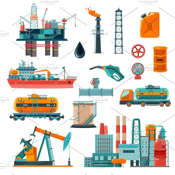 Set Of Oil Industry Cartoon Icons