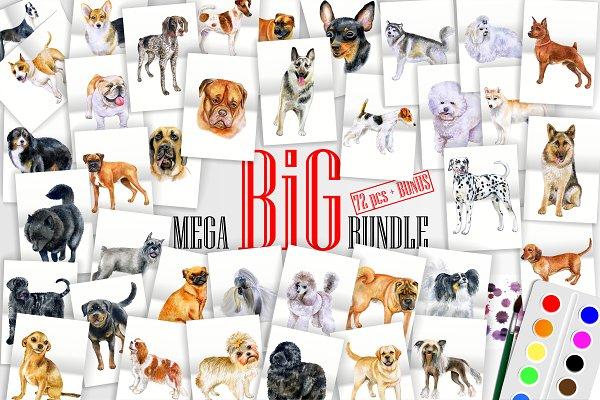 Watercolor Dogs. BIG BUNDLE