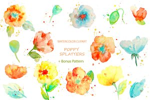 Watercolor Clipart Poppy Splatters