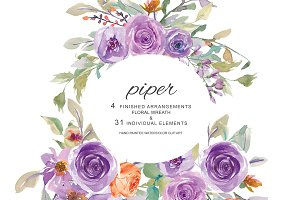 Watercolor Lilac & Orange Floral Set