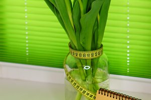 Yellow tulips in jar