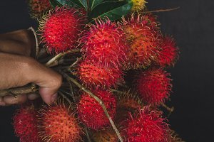 Red rambutan fruits