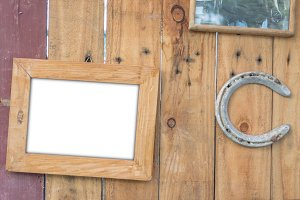 photo frame and old rusty horseshoe
