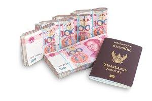 Yuan banknotes and passport