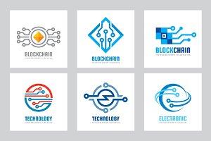 Computer Technology Vector Logo Set