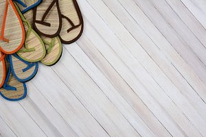 Summer Sandals on Wood
