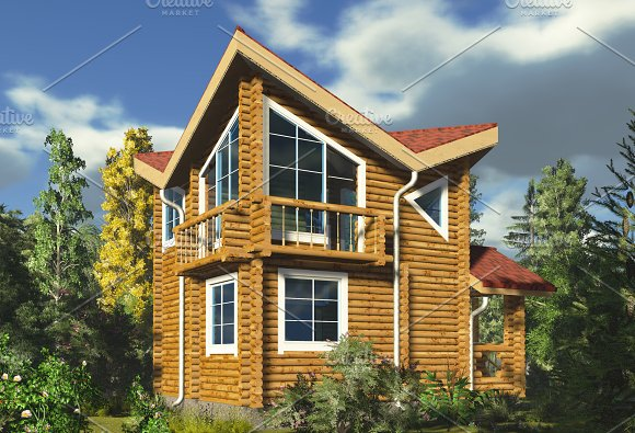 3D Tall Wooden House In The Forest
