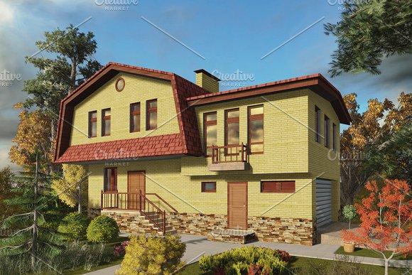 3D Render House In The Landscape