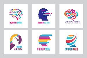 Human Head Creative Brain - Logo Set