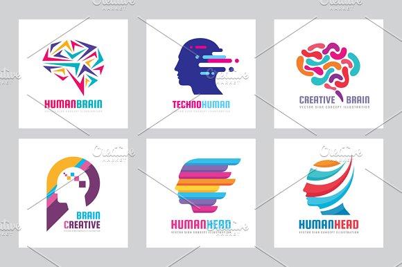 Human Head Creative Brain Logo Set