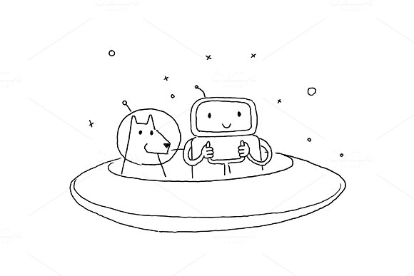 Sketch Robot Alien Character With Dog On Flying Saucer In Space Hand Drawn Black Line Vector Illustration