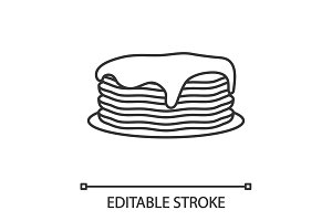 Pancakes stack with jam or honey linear icon