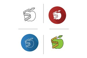 Measuring tape around apple icon