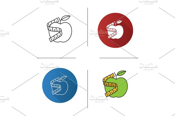 Measuring Tape Around Apple Icon