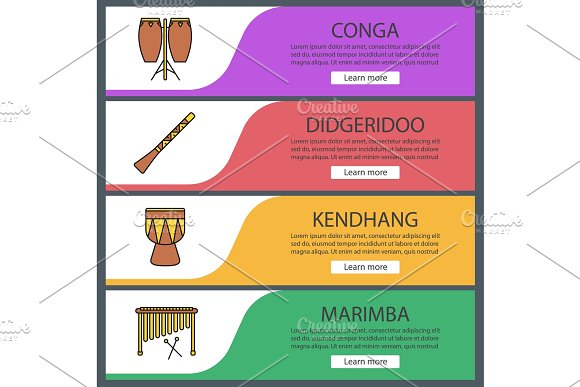 Musical Instruments Web Banner Templates Set