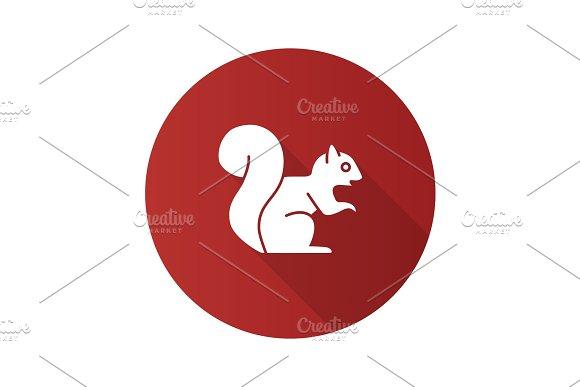 Squirrel Flat Design Long Shadow Glyph Icon