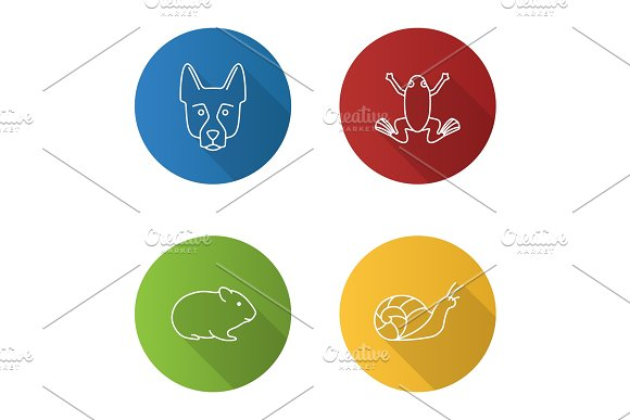Pets flat linear long shadow icons set