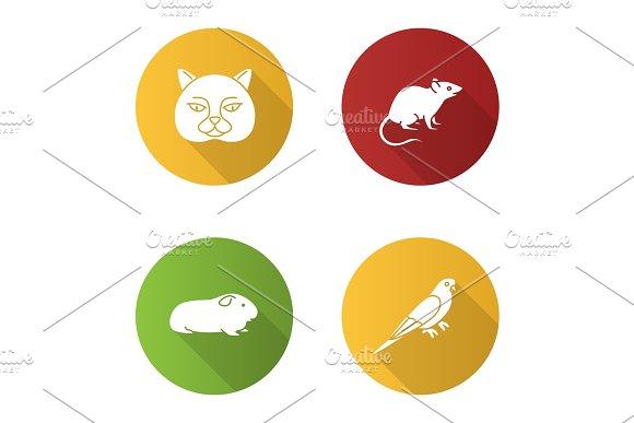 Pets Flat Design Long Shadow Glyph Icons Set