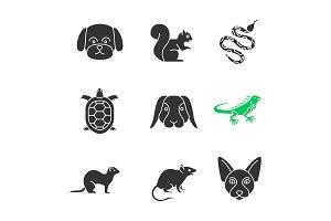 Pets glyph icons set