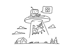 Sketch UFO steal a cow. Robot alien character. 404 error not page. On flying saucer. Hand drawn black line vector illustration.