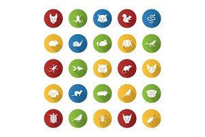 Pets flat design long shadow glyph icons set
