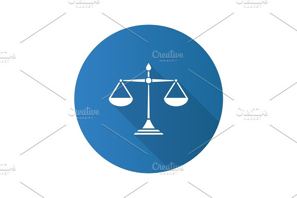Justice Scales Flat Design Long Shadow Glyph Icon