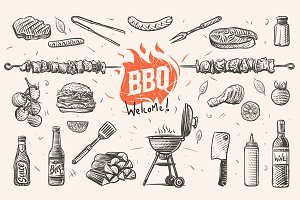 Barbecue elements hand drawn.Vector.