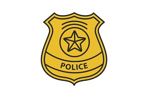 Police detective badge color icon