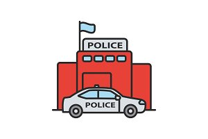 Police department building color icon