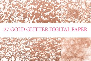 27 Pack Gold Glitter Digital Paper